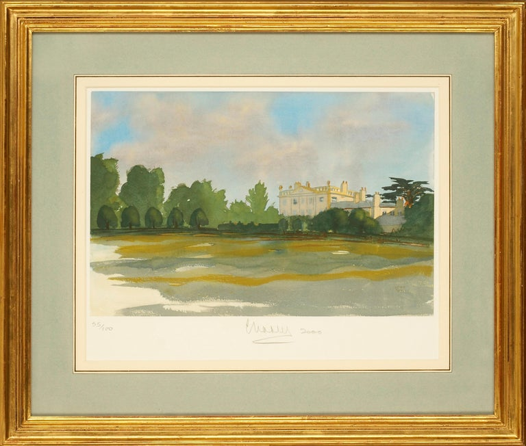 Highgrove - Signed Lithograph, Royal Art, Royal Homes, Highgrove House, British - Gray Landscape Print by HRH Prince Charles, The Prince of Wales
