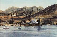 Greek Island, Fishing Boats - Signed Lithograph, Royal Art, Greece, Hills, Shore