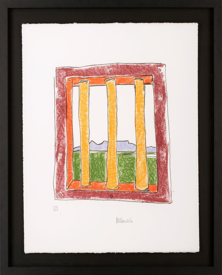 The Window - Mandela, Former South African President, Signed Art, Robben Island - Print by Nelson Mandela