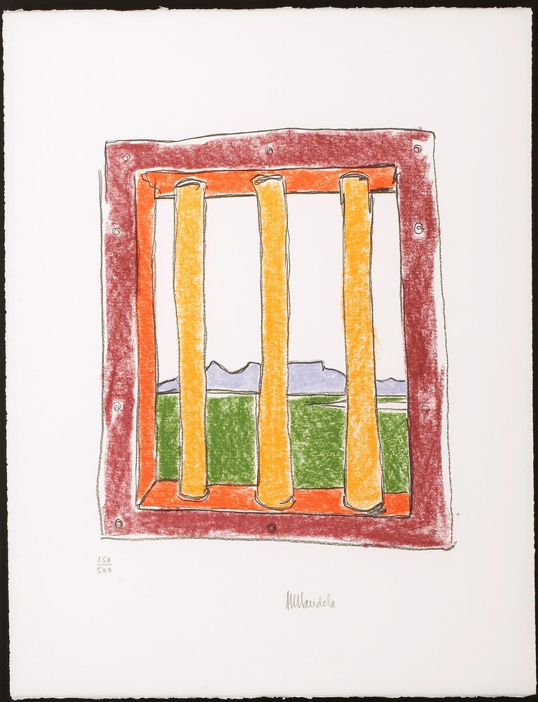 The Window - Mandela, Former South African President, Signed Art, Robben Island - Beige Interior Print by Nelson Mandela