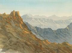 Overlooking Wadi, Saudi Arabia - Signed Lithograph, Royal Art, Mountains, Asir