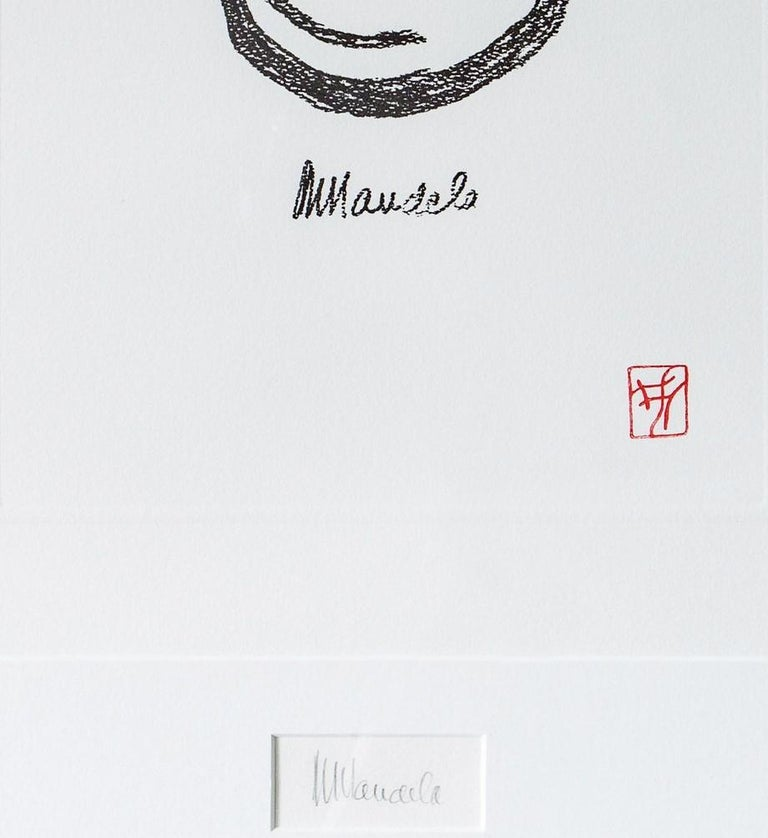 EARTH - Mandela, Former South African President, Signed Art, Symbol, Crescent - Gray Abstract Print by Nelson Mandela