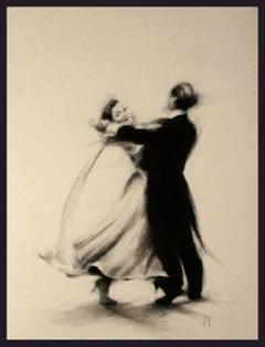 Ballroom Dancers II - Charcoal, Figurative, Fabric, Movement, Human Form