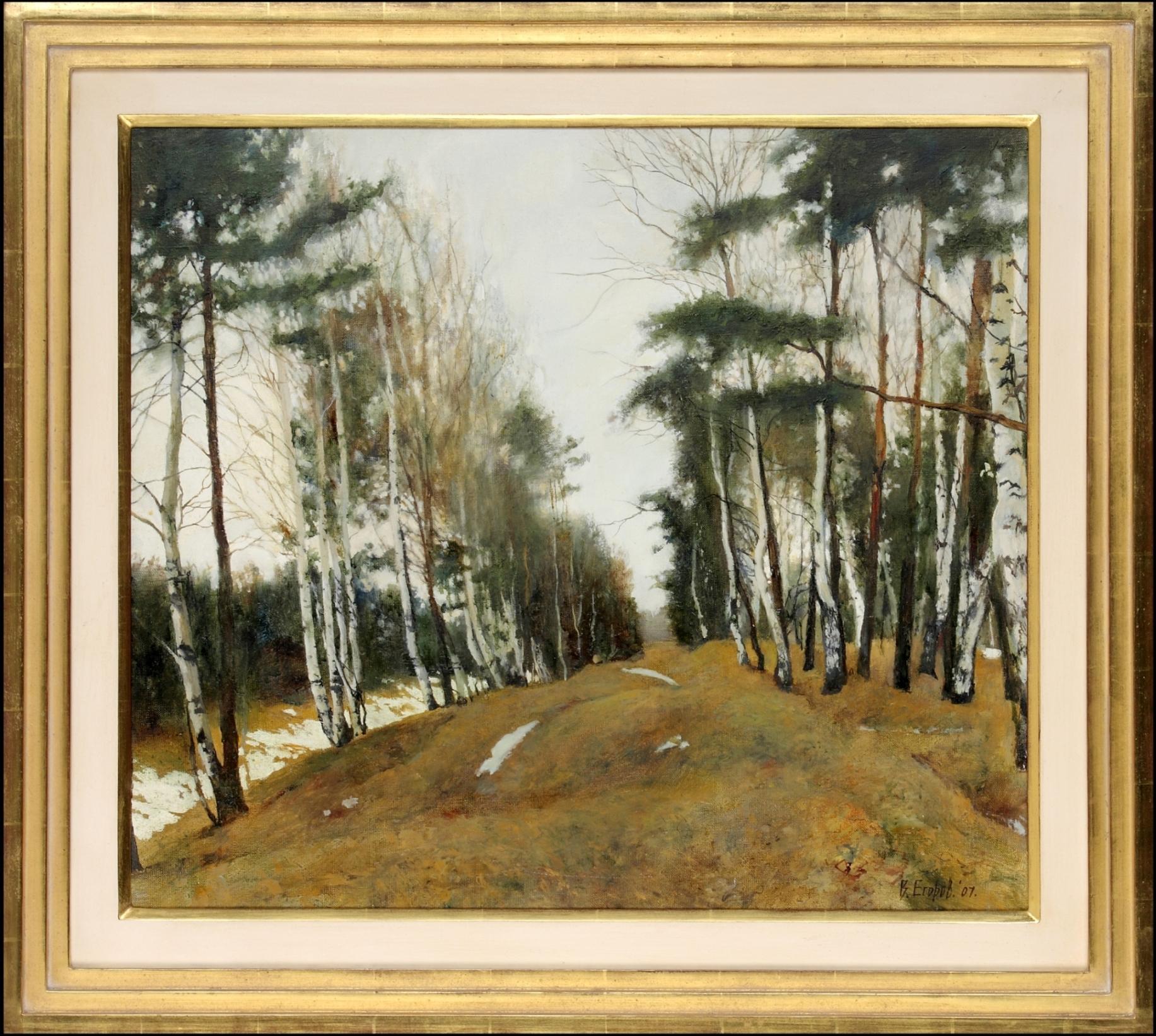 Snow Receding - Victor Egorov, Russian, Landscape, Snow, Woodland, Season, birch