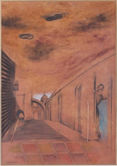 Mysterious Street - Contemporary, Surrealism, Mix media, Late 20th Century