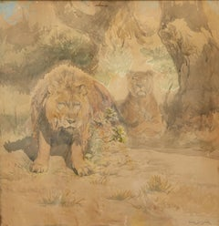 Lion et Lionnes - Realism, Animal Drawing, Work on Paper, Mid 19th Century