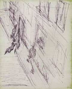 Scene Urbaine Animee - Modern, Figurative, Work on Paper, Mid 20th Century