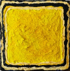 Twisted Stars V - Contemporary, Oil on Felt, 21st C., Yellow, Neon