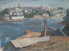 'View of a Port, Brittany' large oil circa 1946