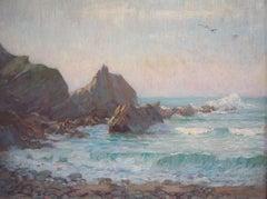 'Kynance Cove. Cornwall' Impressionist Beach Scene oil circa 1930