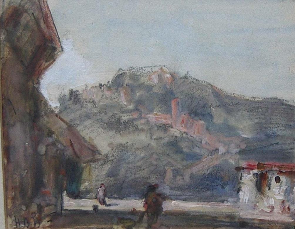 'Continental Landscape Street Scene' watercolour circa 1890