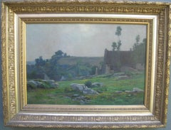 Hillside Landscape with Dwellings oil circa 1860