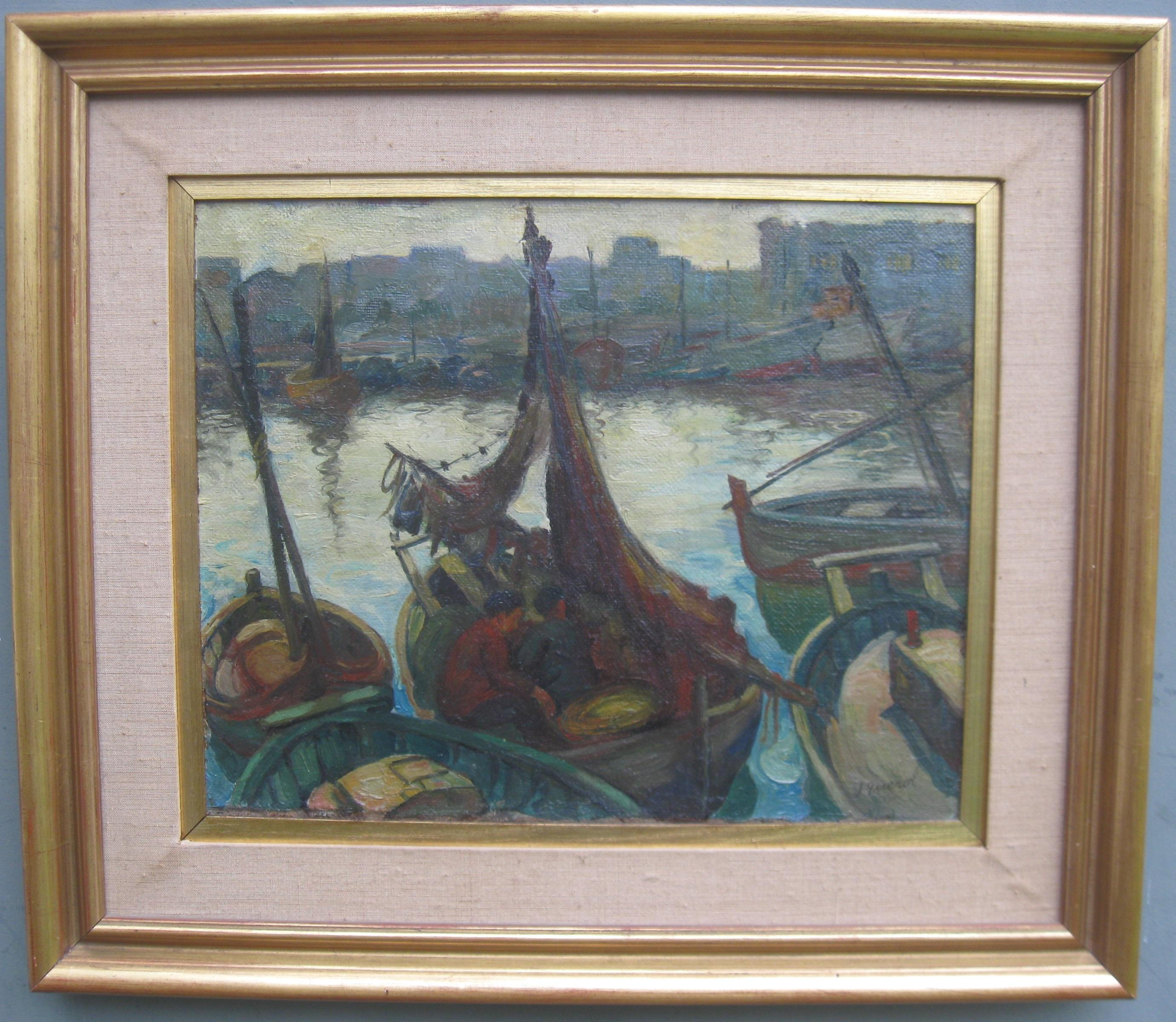 'Landing the Catch', Harbour Evening Scene oil on canvas circa 1950's