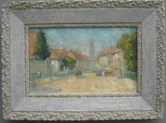 French Impressionist:: View of a French Town on a Sunny Day oil circa 1910