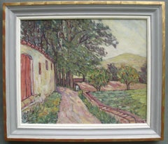 Post Impressionist: View of the Edge of the Garden Large oil circa 1971