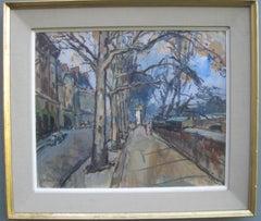 French Impressionist: Paris Street Scene near The river Seine oil circa 1950's
