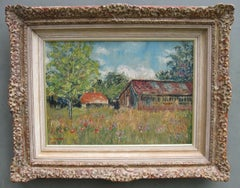 'Landscape in Provence, France' Impressionist oil on board circa 1948