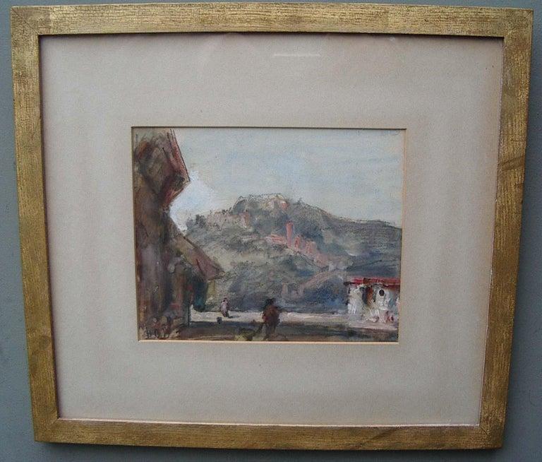 'Continental Landscape Street Scene' watercolour circa 1890 - Art by Hercules Brabazon Brabazon