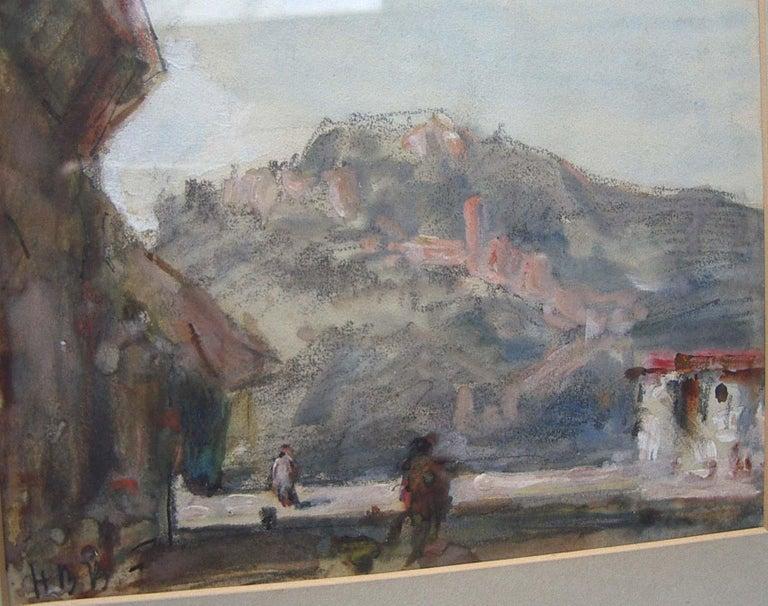 'Continental Landscape Street Scene' watercolour circa 1890 - Romantic Art by Hercules Brabazon Brabazon