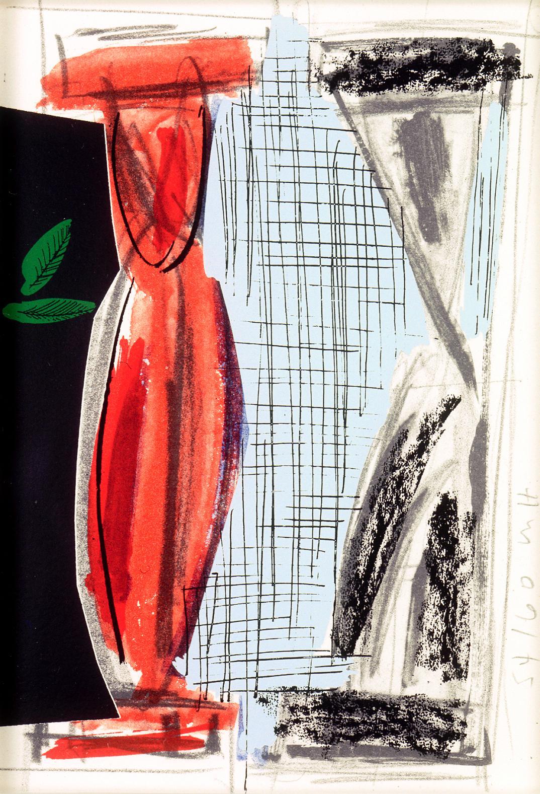 Two Columns (framed): colorful pop art abstracted Greek pillars Micheal Hurson
