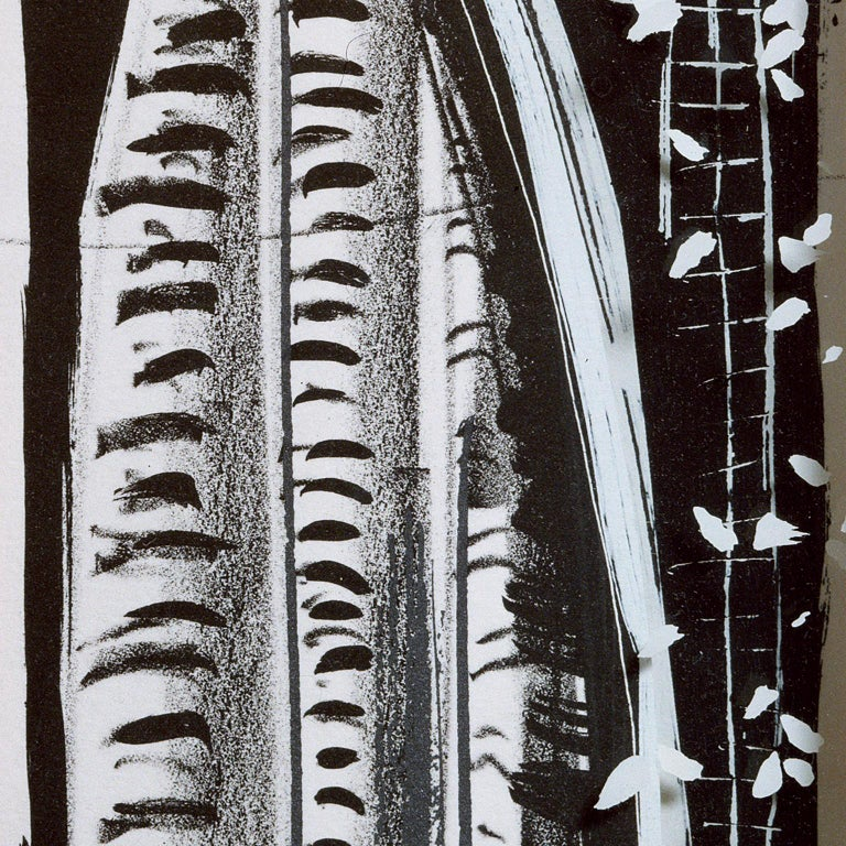 Vladimir: Greek column abstract etching and screenprint, handmade paper frame For Sale 1