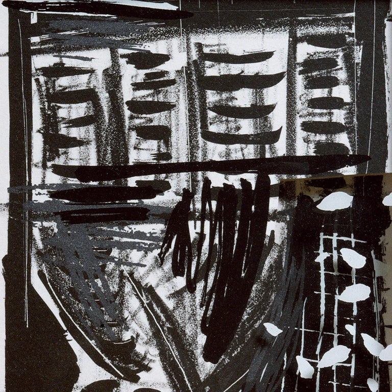 Vladimir: Greek column abstract etching and screenprint, handmade paper frame For Sale 3