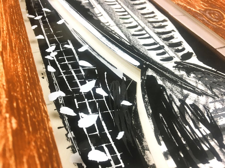 Vladimir: Greek column abstract etching and screenprint, handmade paper frame For Sale 4