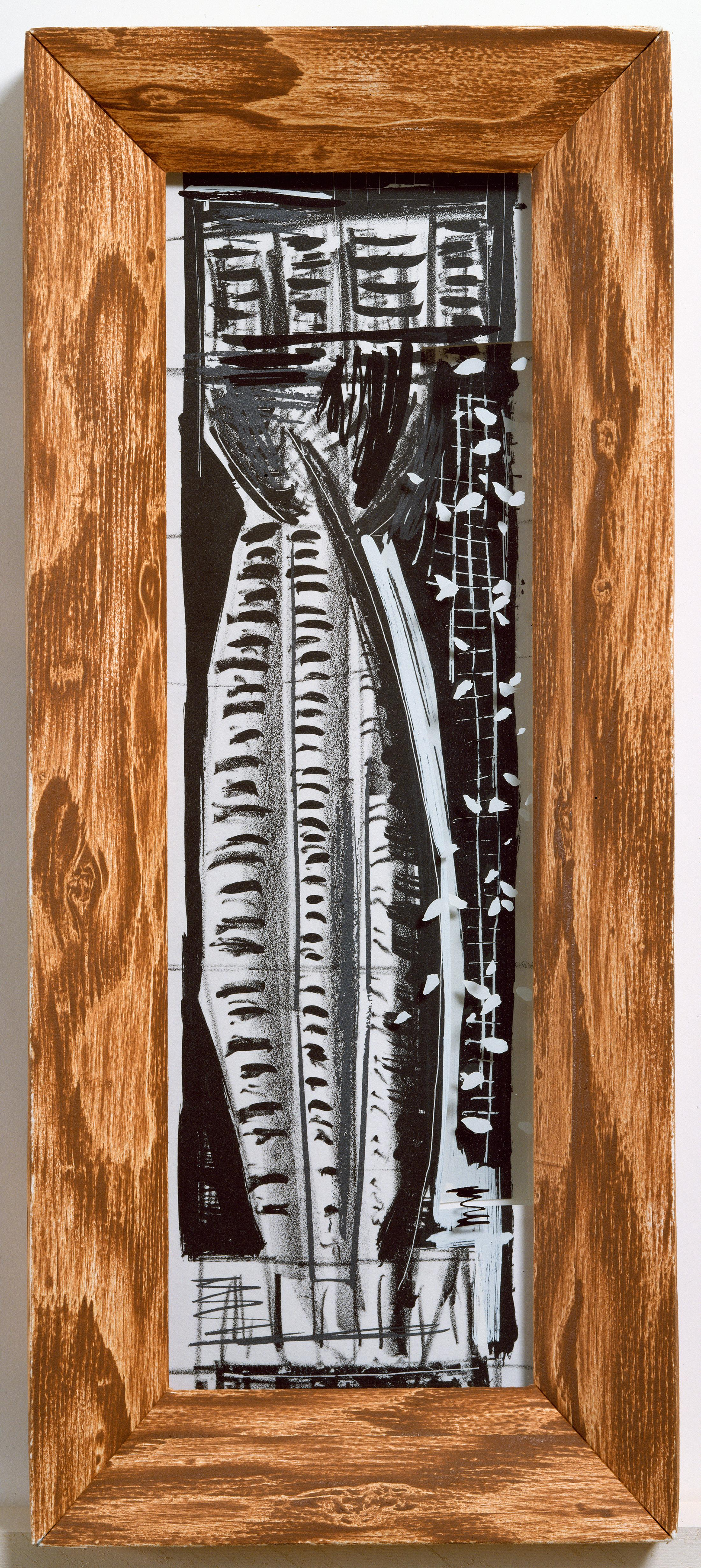 Vladimir: Greek column abstract etching and screenprint, handmade paper frame
