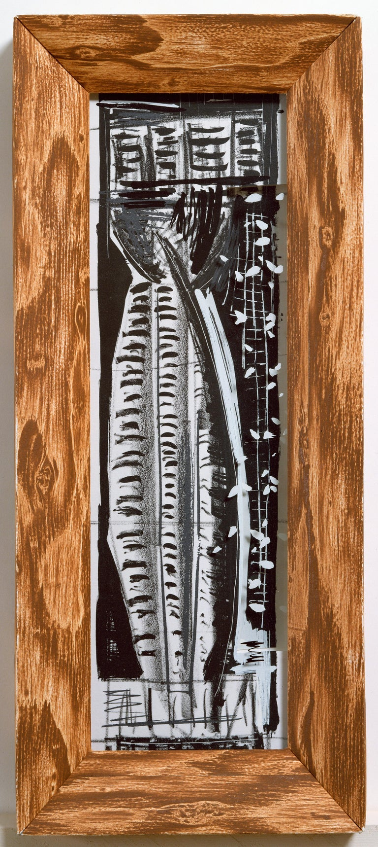 Michael Hurson Figurative Print - Vladimir: Greek column abstract etching and screenprint, handmade paper frame