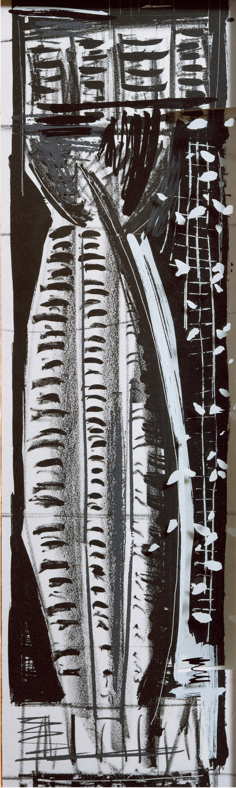 Vladimir: Greek column abstract etching and screenprint, handmade paper frame - Print by Michael Hurson