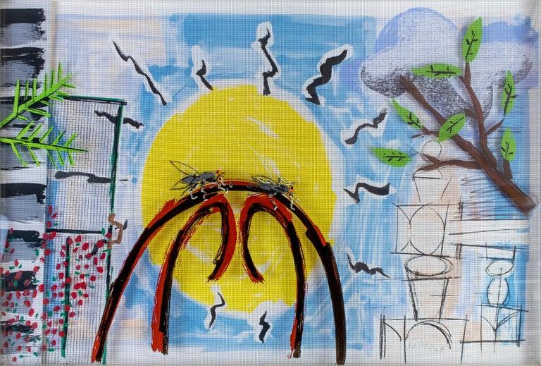 Michael Hurson Figurative Print - Two Flies on a Bentwood Chair: colorful rainbow pop art landscape Micheal Hurson