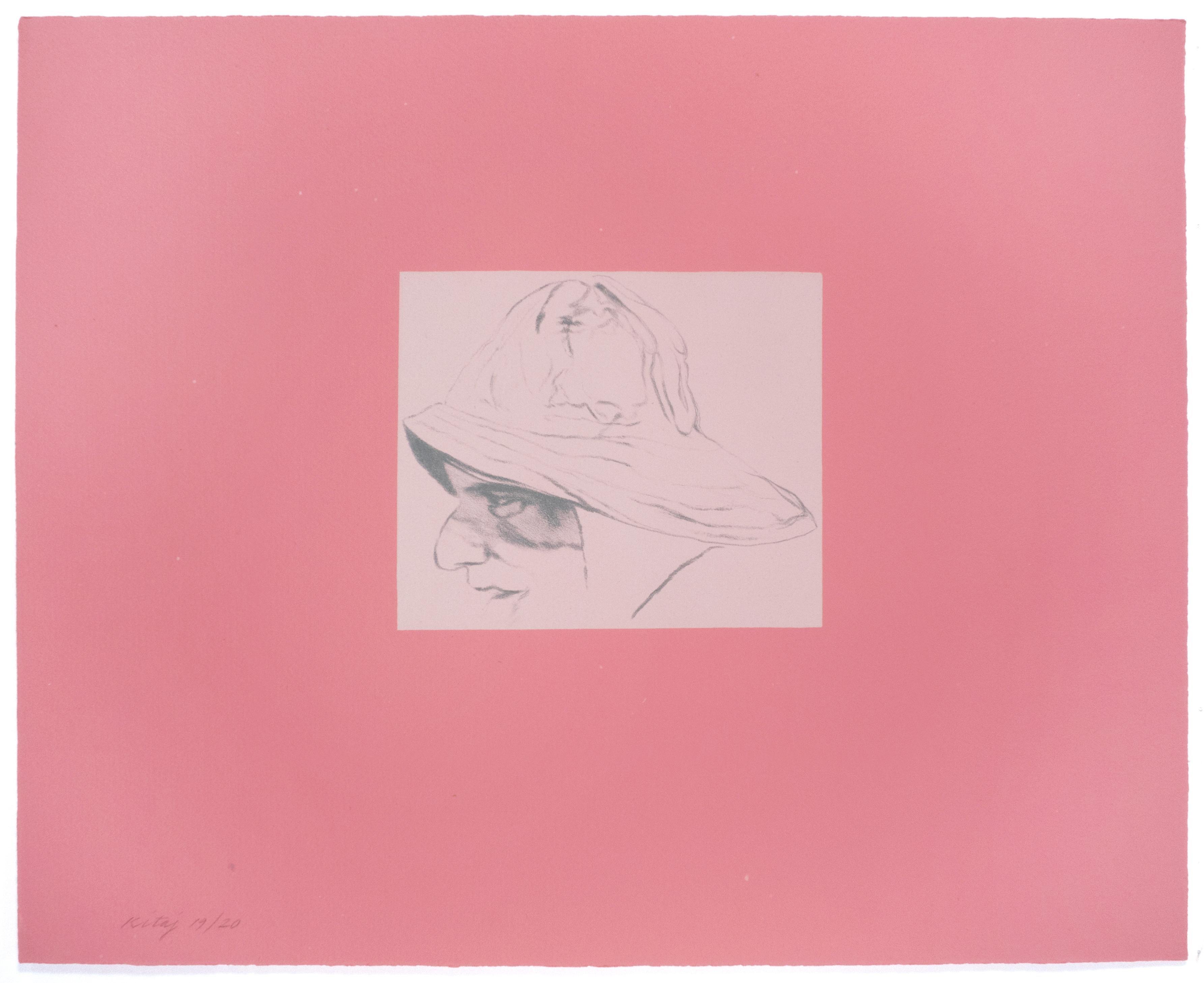 Cap'n A.B. Dick: Pale pink and raspberry sailor's portrait drawing by R.B. Kitaj