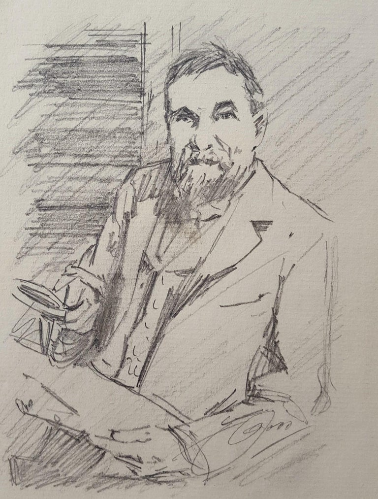 """An original signed graphite pencil drawing on laid paper by Swedish artist Anders Zorn (1860-1920) titled """"Frederick Keppel, Art Dealer"""", c. 1895. Hand pencil signed by Zorn lower right. Watermark upper left and with his New York prints dealer"""
