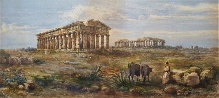 Giovanni Giordano Lanza Landscape Art - The First and Second Temple of Hera, Paestum