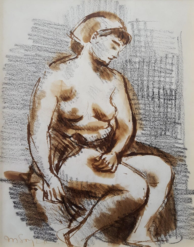 Seated Female Nude - Art by Moses Soyer