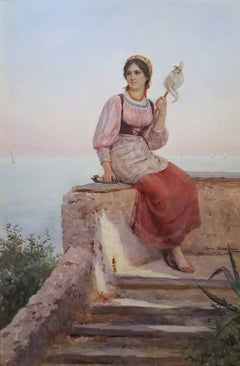 Young Italian Woman Spinning Thread