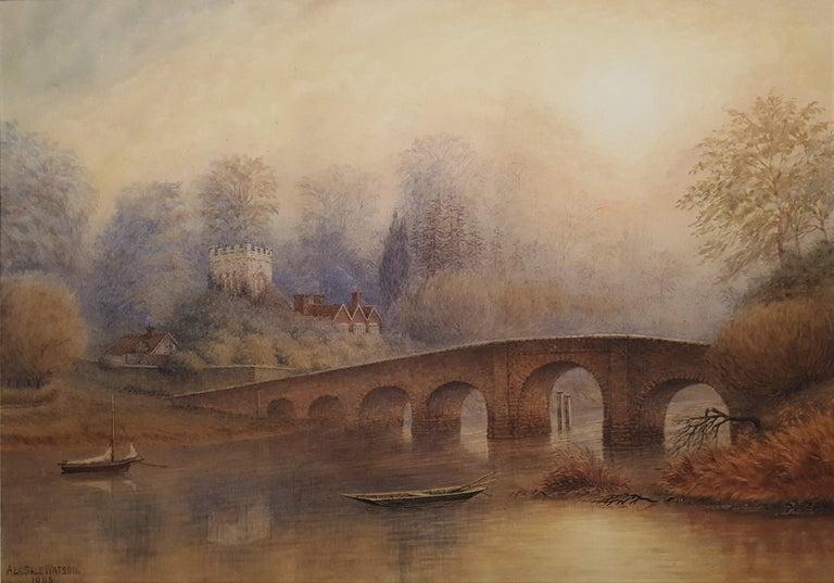 Alfred Sale Watson Landscape Art - Bridge at Sonning on Thames