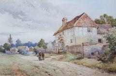 Figures Walking Past a Sussex Farmhouse