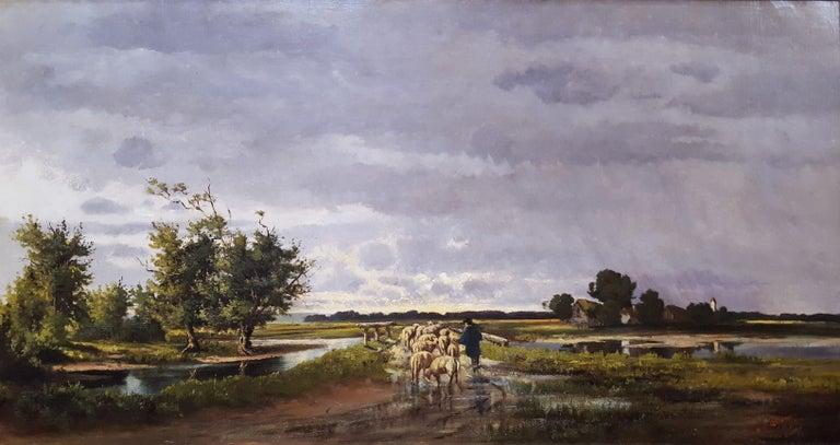 Henrietta S. Quincy  Landscape Painting - Shepherd with Sheep Pastoral Landscape