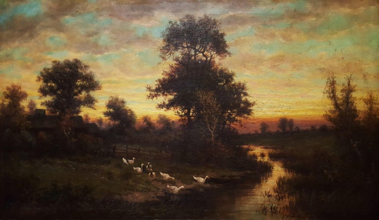 Adolf Lins Landscape Painting - Cottage Landscape with Geese at Twilight