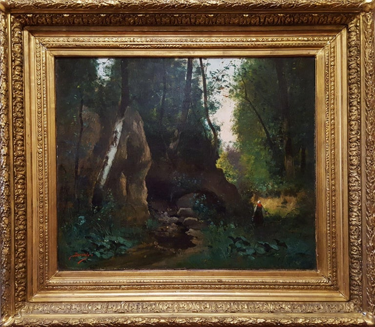 Woman in Forest Landscape - Painting by Unknown