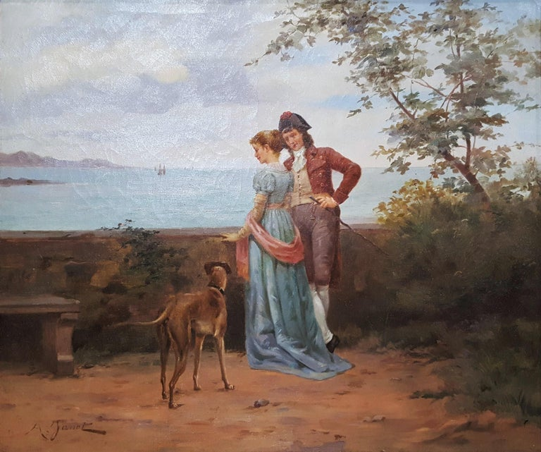 Ange-Louis Janet Figurative Painting - Cavalier with Lady and Dog Seascape