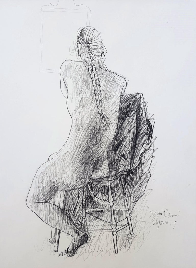 Seated Nude with Mirror - Art by Byron Browne