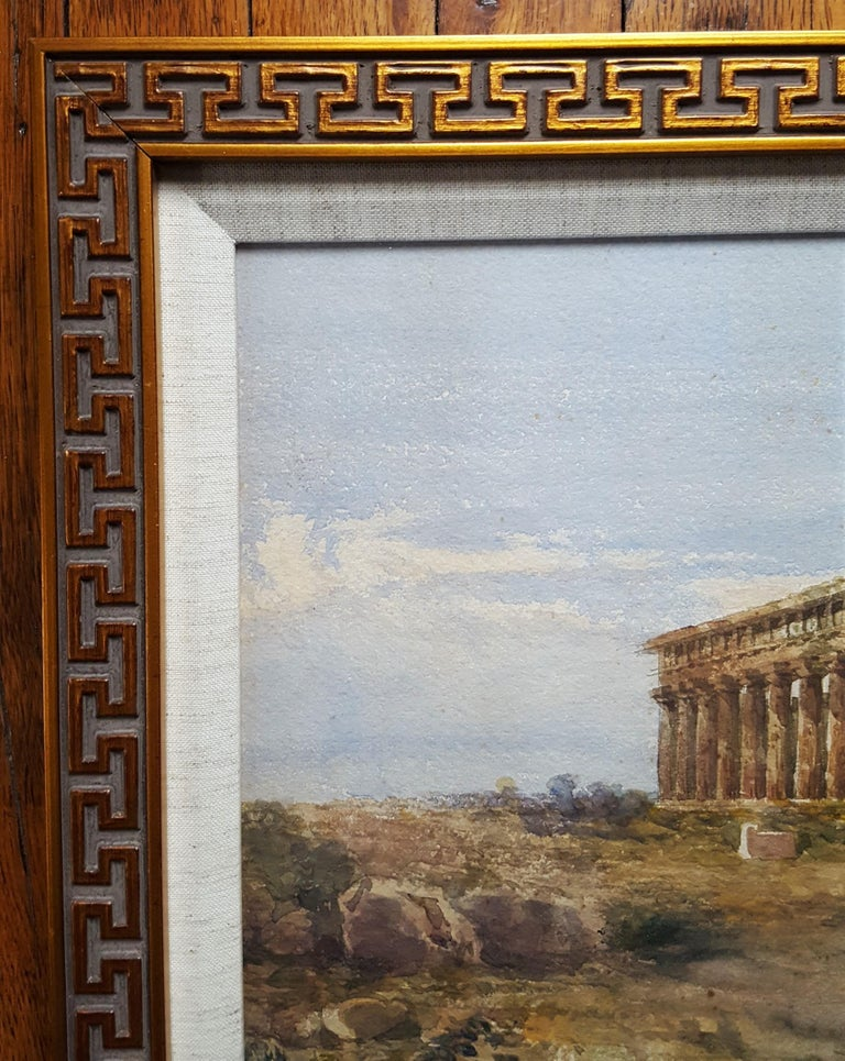 The First and Second Temple of Hera, Paestum - Gray Landscape Art by Giovanni Giordano Lanza