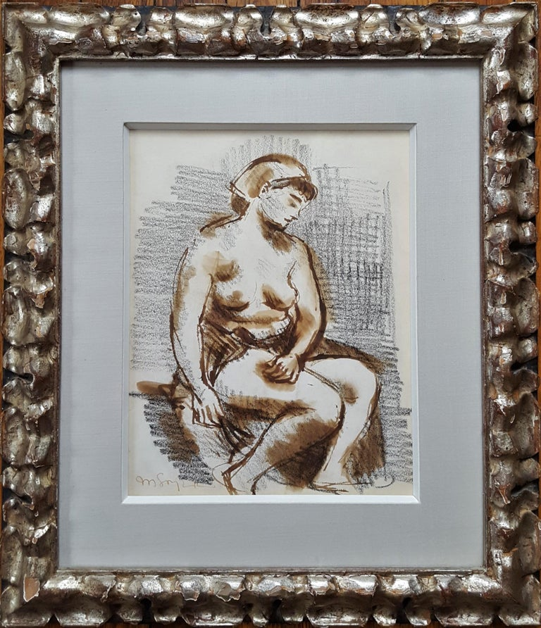 Seated Female Nude - American Realist Art by Moses Soyer