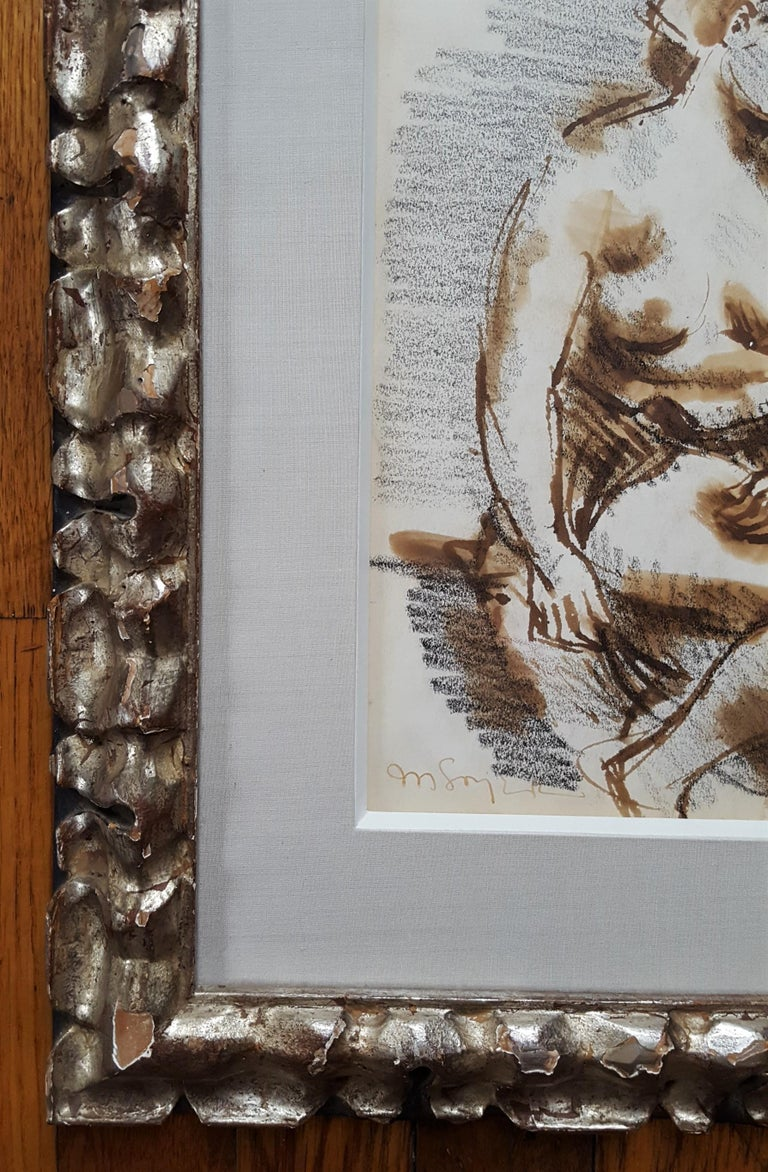 An original signed watercolor and graphite pencil drawing on paper by American artist Moses Soyer (1899-1974) titled