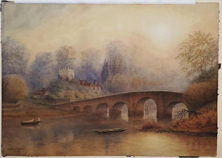 Bridge at Sonning on Thames - Victorian Art by Alfred Sale Watson