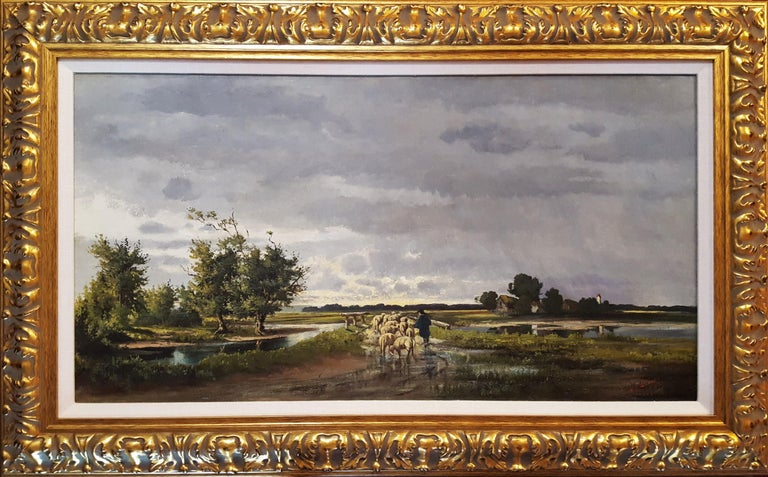 Shepherd with Sheep Pastoral Landscape - Painting by Henrietta S. Quincy