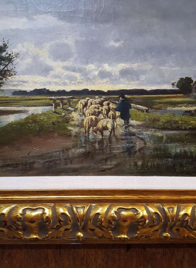 Shepherd with Sheep Pastoral Landscape For Sale 5
