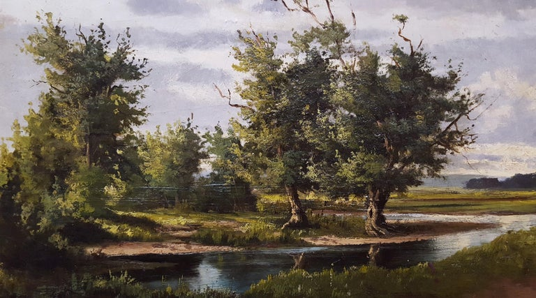 Shepherd with Sheep Pastoral Landscape For Sale 6